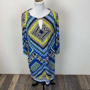 Laundry by Shelli Segal Blue Diamond Print Dress